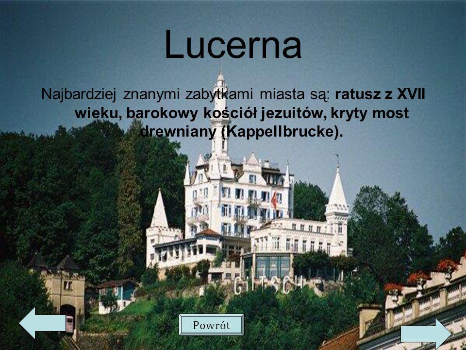 Lucerna Najbardziej znanymi zabytkami miasta są: ratusz z XVII wieku, barokowy kościół jezuitów, kryty most drewniany (Kappellbrucke).