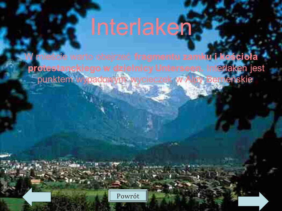Interlaken W mieście warto obejrzeć fragmentu zamku i kościoła protestanckiego w dzielnicy Unterseen.