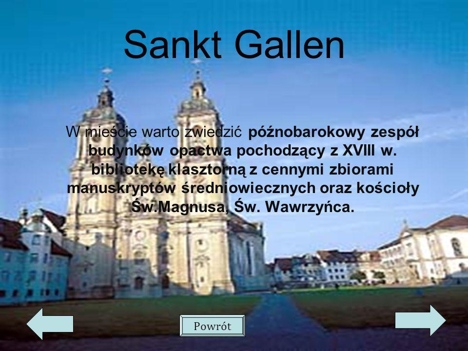Sankt Gallen W mieście warto zwiedzić późnobarokowy zespół budynków opactwa pochodzący z XVIII w.