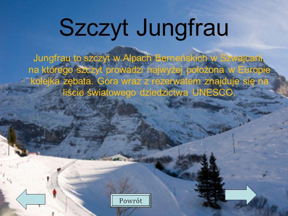 Szczyt Jungfrau Jungfrau to szczyt w Alpach Berneńskich w Szwajcarii, na którego szczyt prowadzi najwyżej położona w Europie kolejka zębata.