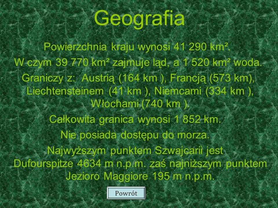 Jezioro Genewskie (Lac Léman, Lac de Genève) 581,3km² Jezioro Bodeńskie (Bodensee) 541,1km² Neuchâtel (Lac de Neuchâtel) 218,3km² Maggiore(Lago Maggiore) 212,3km² Jezioro Czterech Kantonów (Vierwaldstättersee) 113,7km² Jezioro Zuryskie (Zürichsee)90,1km² Lugano (Lago di Lugano)48,7km² Thun (Thunersee) 48,4km² Bielersee (Lac de Bienne) 39,6km² Zugersee 38,3km² Brienz (Brienzersee) 29,8km² Walensee 24,1km² Murtensee (Lac Morat) 23,0km² Najważniejsze jeziora w Szwajcarii: Powrót