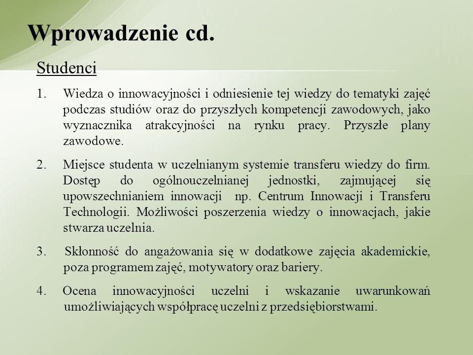Studenci 1.Wiedza o innowacyjności i odniesienie tej wiedzy do tematyki zajęć podczas studiów oraz do przyszłych kompetencji zawodowych, jako wyznaczn