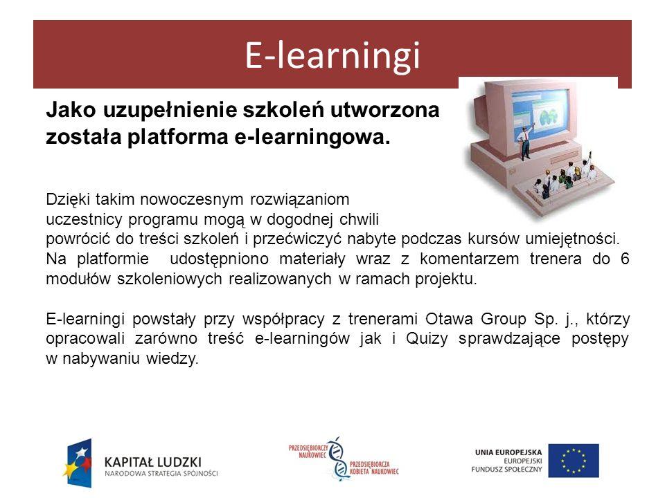 E-learningi Jako uzupełnienie szkoleń utworzona została platforma e-learningowa. Dzięki takim nowoczesnym rozwiązaniom uczestnicy programu mogą w dogo
