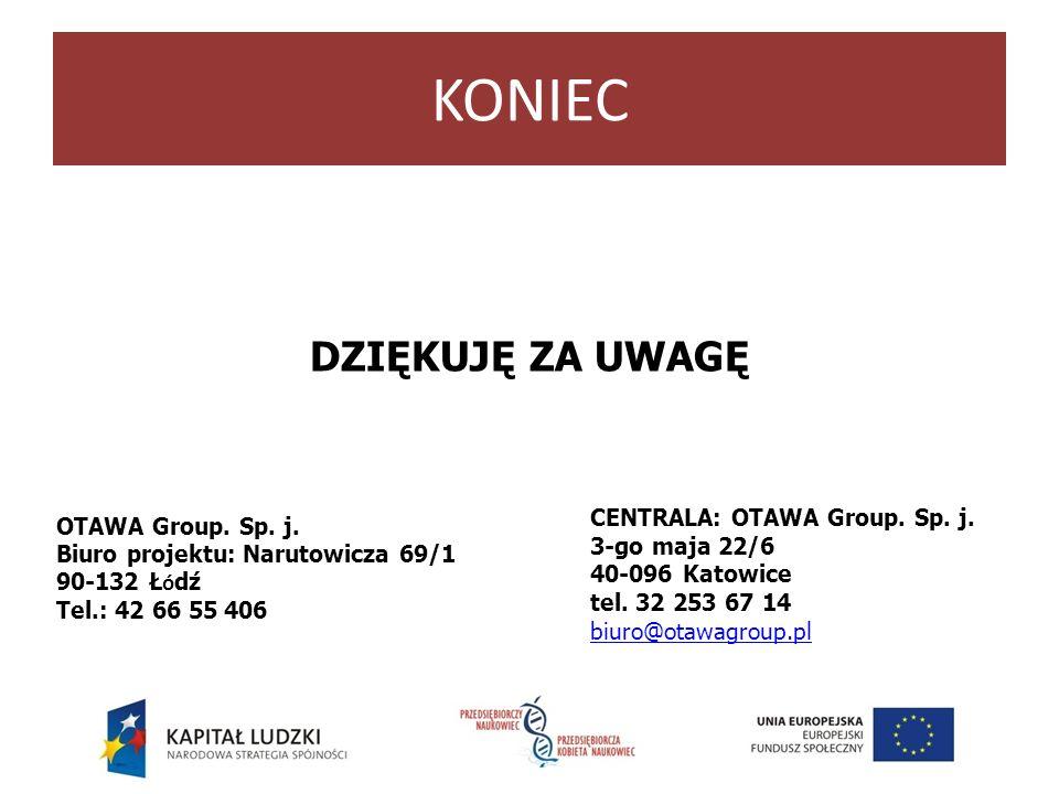 KONIEC DZIĘKUJĘ ZA UWAGĘ OTAWA Group. Sp. j. Biuro projektu: Narutowicza 69/1 90-132 Ł ó dź Tel.: 42 66 55 406 CENTRALA: OTAWA Group. Sp. j. 3-go maja
