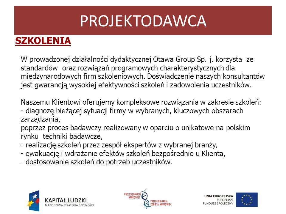 W prowadzonej działalności dydaktycznej Otawa Group Sp. j. korzysta ze standardów oraz rozwiązań programowych charakterystycznych dla międzynarodowych