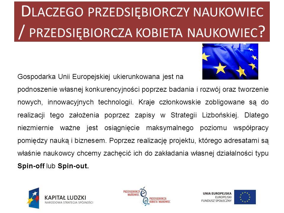 D LACZEGO PRZEDSIĘBIORCZY NAUKOWIEC / PRZEDSIĘBIORCZA KOBIETA NAUKOWIEC ? Gospodarka Unii Europejskiej ukierunkowana jest na podnoszenie własnej konku