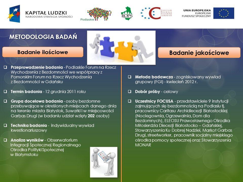 METODOLOGIA BADAŃ Przeprowadzenie badania - Podlaskie Forum na Rzecz Wychodzenia z Bezdomności we współpracy z Pomorskim Forum na Rzecz Wychodzenia z