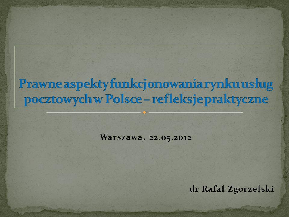 Rynek usług pocztowych w Polsce znajduje się w fazie głębokiej rekonstrukcji spowodowanej procesem postępującej, kontrolowanej, w myśl przepisów prawa Wspólnoty Europejskiej oraz prawa krajowego, przez państwowych regulatorów jego liberalizacji.