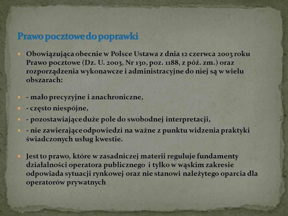 Obowiązująca obecnie w Polsce Ustawa z dnia 12 czerwca 2003 roku Prawo pocztowe (Dz. U. 2003, Nr 130, poz. 1188, z póź. zm.) oraz rozporządzenia wykon