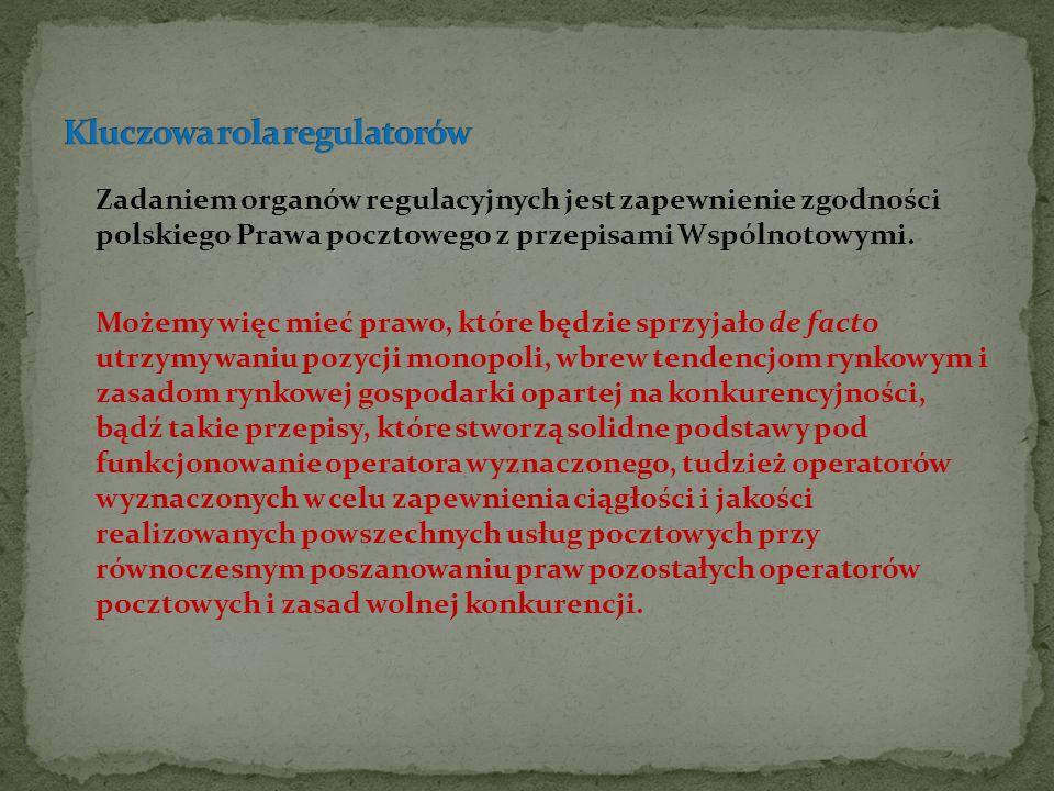 Zadaniem organów regulacyjnych jest zapewnienie zgodności polskiego Prawa pocztowego z przepisami Wspólnotowymi. Możemy więc mieć prawo, które będzie