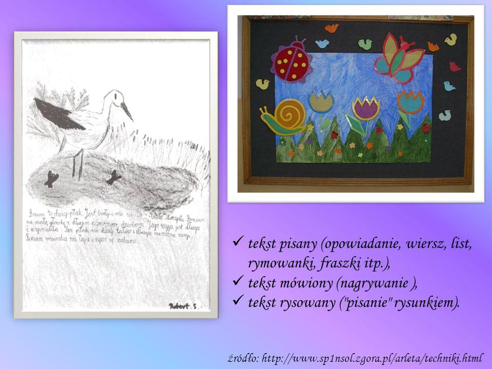 tekst pisany (opowiadanie, wiersz, list, rymowanki, fraszki itp.), tekst mówiony (nagrywanie ), tekst rysowany (