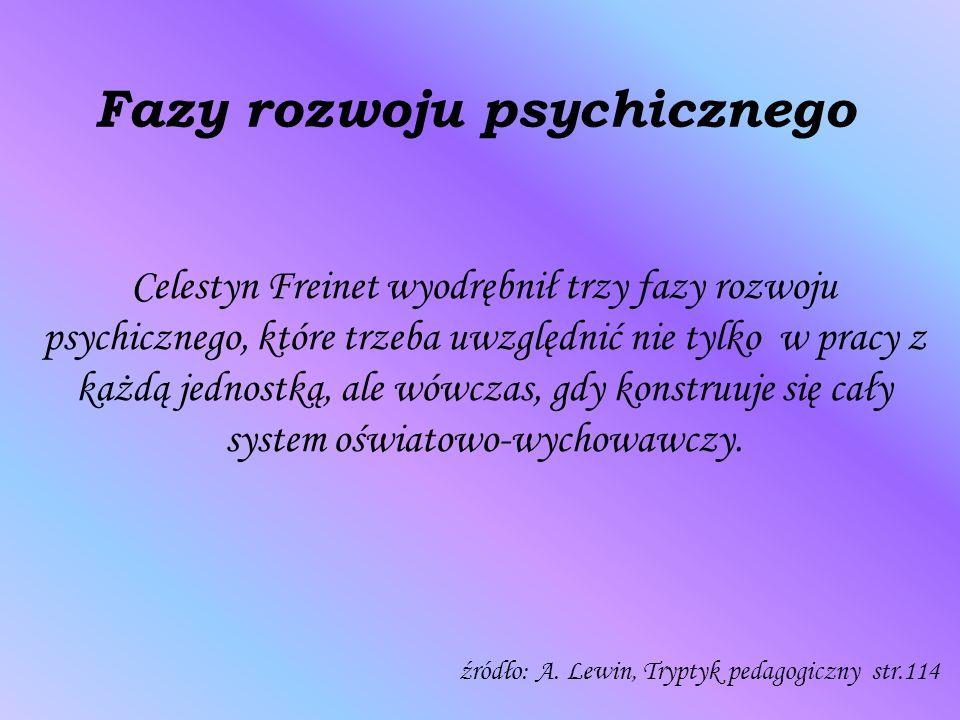 Fazy rozwoju psychicznego Celestyn Freinet wyodrębnił trzy fazy rozwoju psychicznego, które trzeba uwzględnić nie tylko w pracy z każdą jednostką, ale