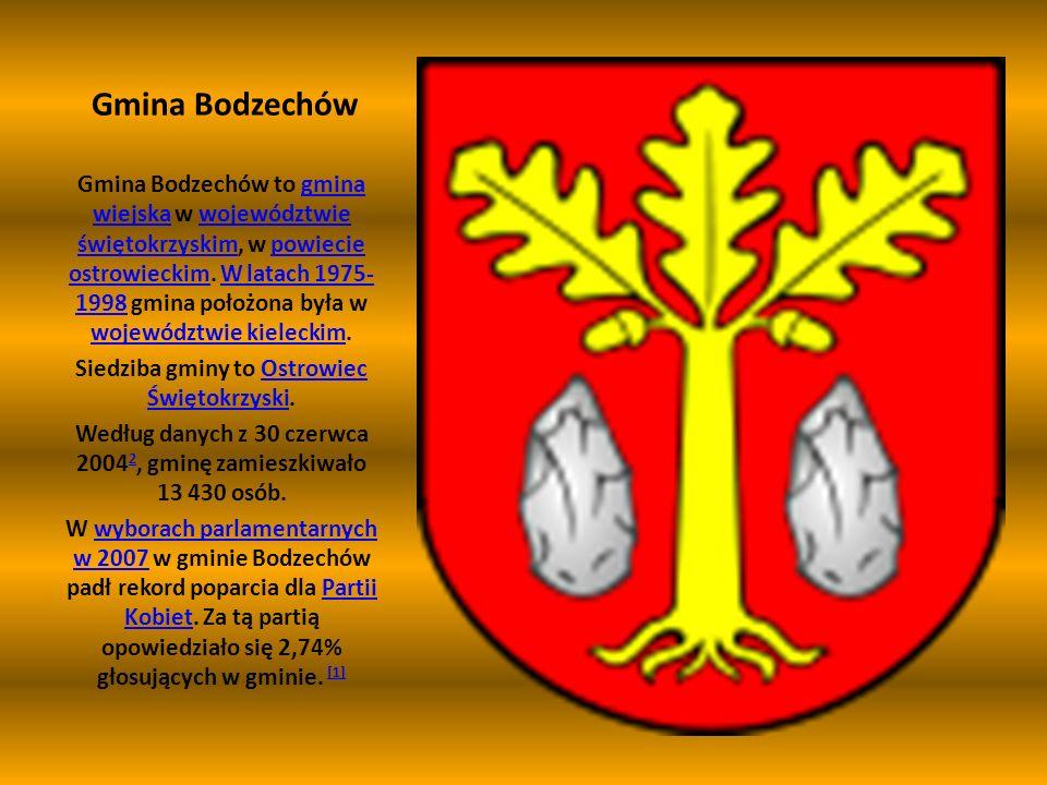 Gmina Bodzechów Gmina Bodzechów to gmina wiejska w województwie świętokrzyskim, w powiecie ostrowieckim. W latach 1975- 1998 gmina położona była w woj