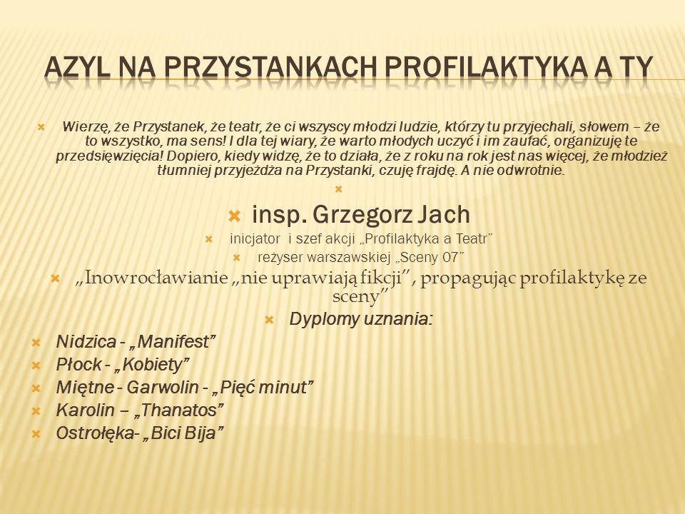 Wciągnięcie innych grup w propagowanie idei profilaktyki ze sceny: Re-akcja z MDKu, grupy z Gimnazjów w Kruszwicy, Pakości, Sławęcinka, Barcina i Inowrocławia.