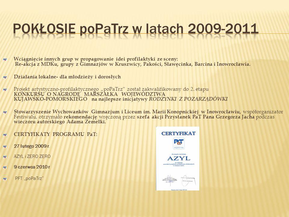 Powiatowy Program Profilaktyczny – PaT/M- Bici biją Współpraca z Powiatowym Centrum Pomocy Rodzinie – przygotowanie spektaklu Bici biją inaugurującego Konferencję – maj 2011.