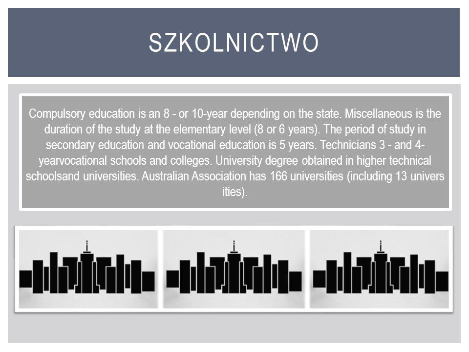 Obowiązek szkolny jest 8- lub 10-letni w zależności od stanu. Różny jest okres trwania nauki na szczeblu elementarnym (8 lub 6 lat). Okres nauki w szk