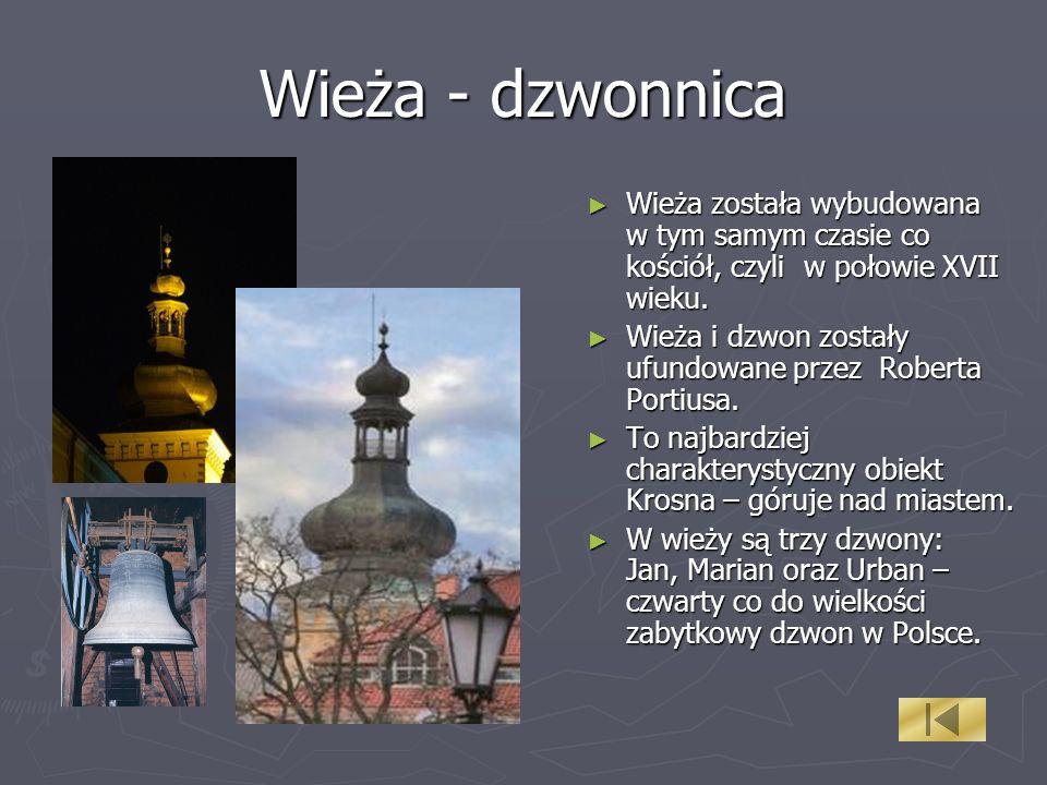Wieża - dzwonnica Wieża została wybudowana w tym samym czasie co kościół, czyli w połowie XVII wieku. Wieża została wybudowana w tym samym czasie co k