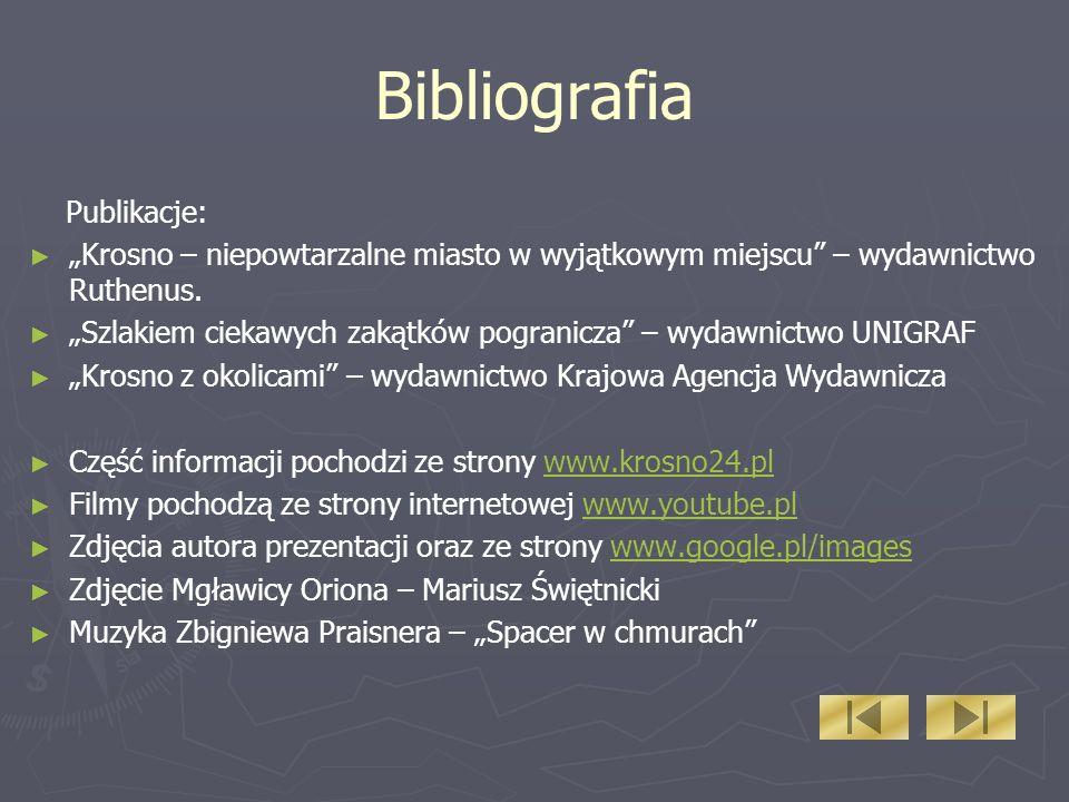 Bibliografia Publikacje: Krosno – niepowtarzalne miasto w wyjątkowym miejscu – wydawnictwo Ruthenus.