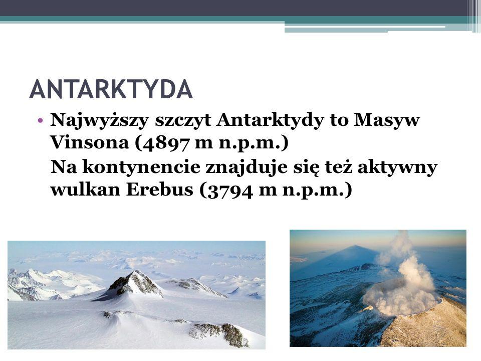 ANTARKTYDA ANTARKTYKA –nazwa odnosząca się do obszaru obejmującego Antarktydę i otaczające ją wody trzech oceanów wraz z wyspami. Nazwa kontynentu poc