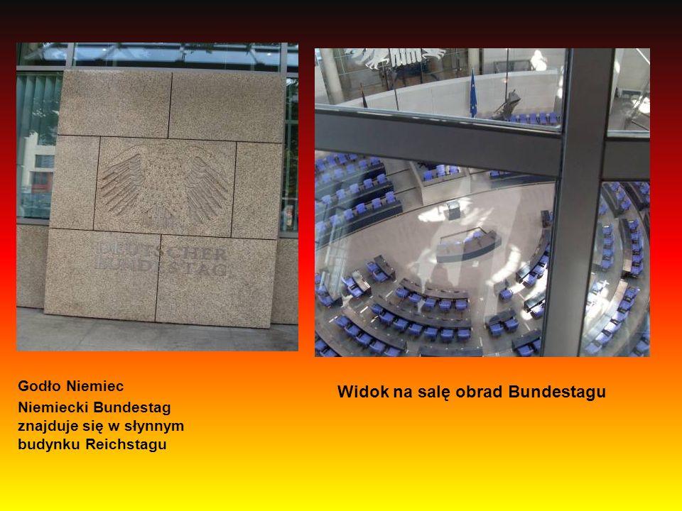 Godło Niemiec Niemiecki Bundestag znajduje się w słynnym budynku Reichstagu Widok na salę obrad Bundestagu