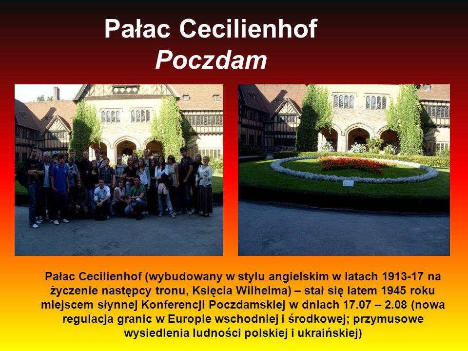 Pałac Cecilienhof Poczdam Pałac Cecilienhof (wybudowany w stylu angielskim w latach 1913-17 na życzenie następcy tronu, Księcia Wilhelma) – stał się l