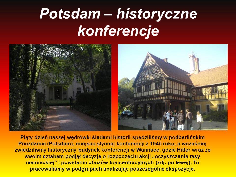Potsdam – historyczne konferencje Piąty dzień naszej wędrówki śladami historii spędziliśmy w podberlińskim Poczdamie (Potsdam), miejscu słynnej konfer