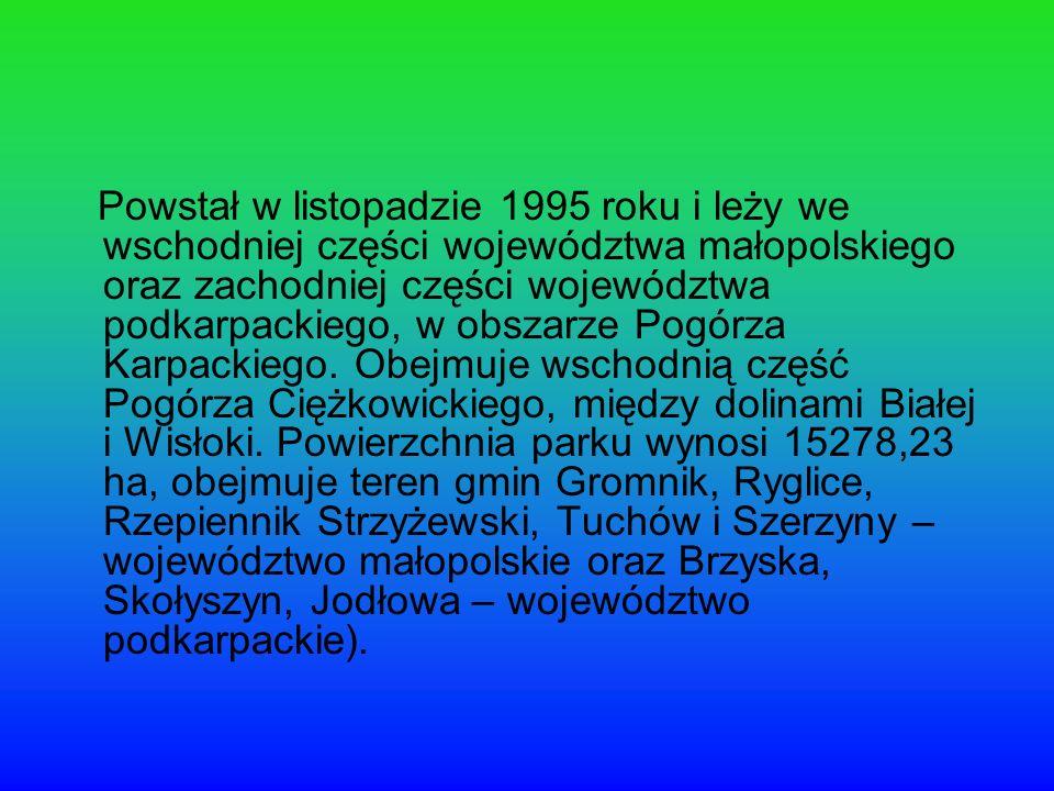 Powstał w listopadzie 1995 roku i leży we wschodniej części województwa małopolskiego oraz zachodniej części województwa podkarpackiego, w obszarze Po