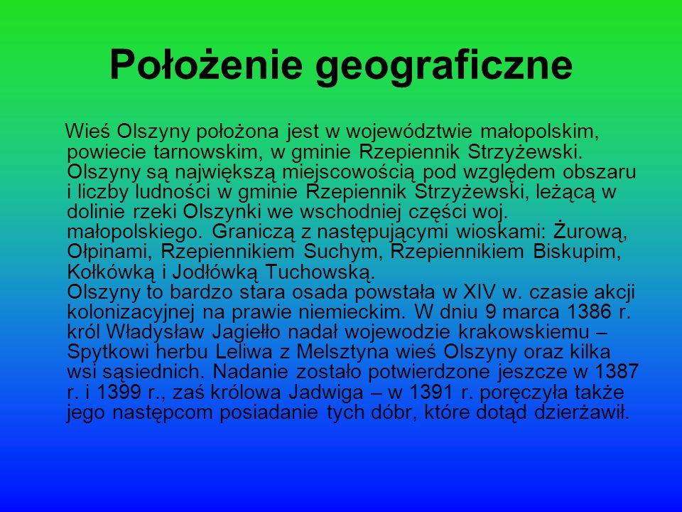 Położenie geograficzne Wieś Olszyny położona jest w województwie małopolskim, powiecie tarnowskim, w gminie Rzepiennik Strzyżewski. Olszyny są najwięk