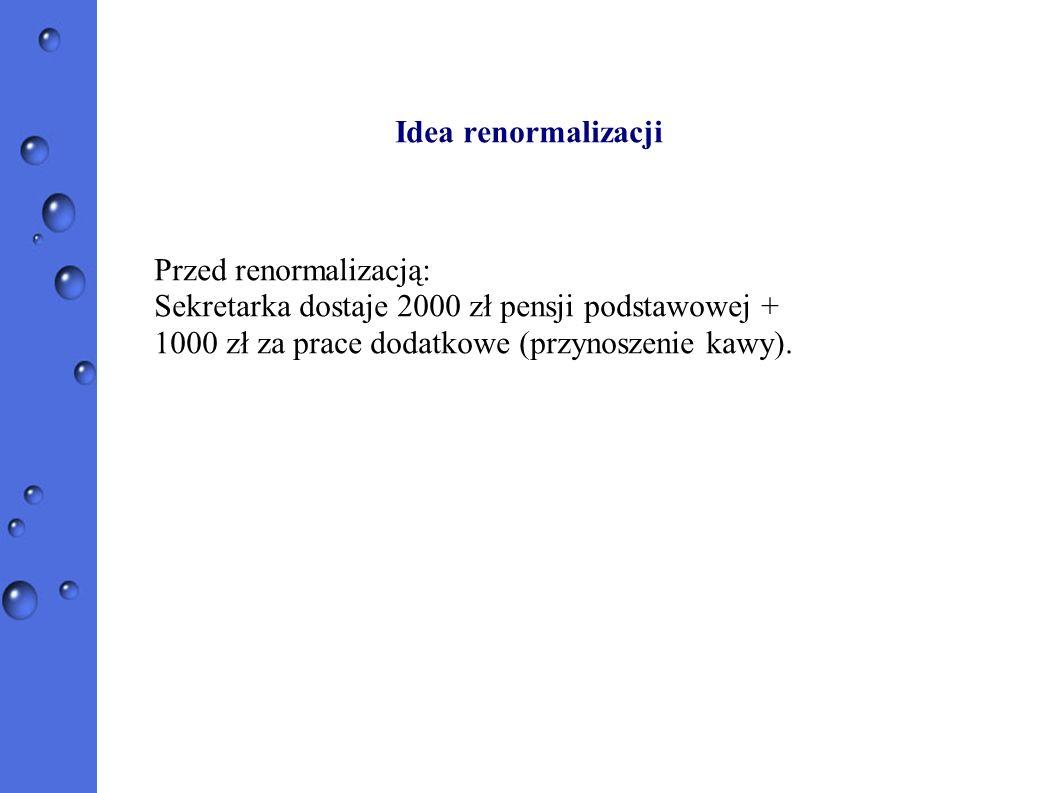 Idea renormalizacji Przed renormalizacją: Sekretarka dostaje 2000 zł pensji podstawowej + 1000 zł za prace dodatkowe (przynoszenie kawy).