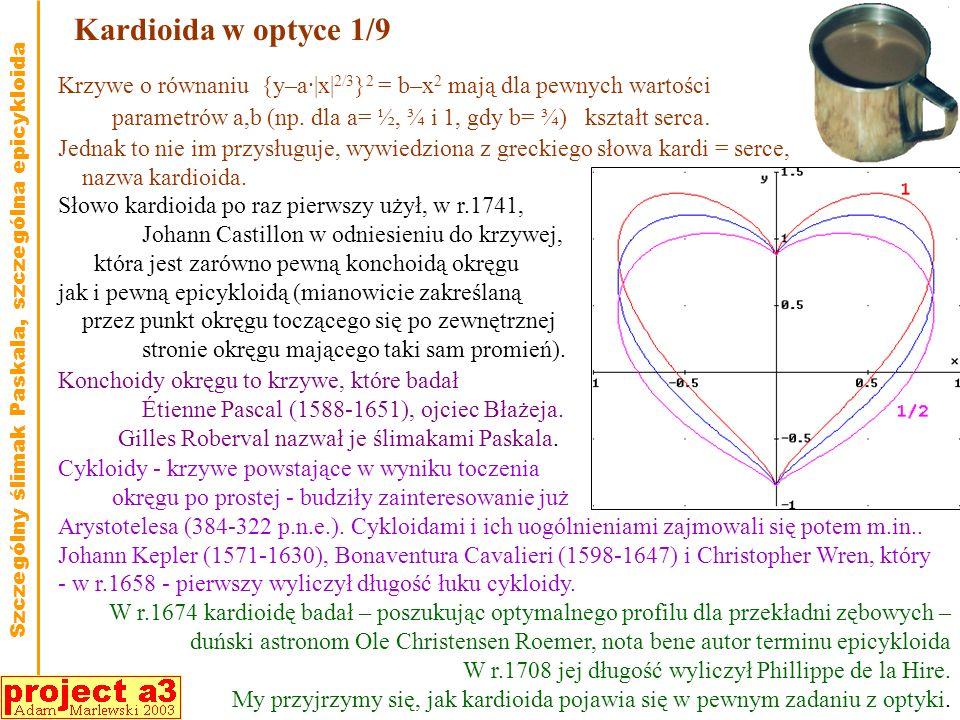 Kardioida w optyce 1/9 Słowo kardioida po raz pierwszy użył, w r.1741, Johann Castillon w odniesieniu do krzywej, która jest zarówno pewną konchoidą okręgu jak i pewną epicykloidą (mianowicie zakreślaną przez punkt okręgu toczącego się po zewnętrznej stronie okręgu mającego taki sam promień).