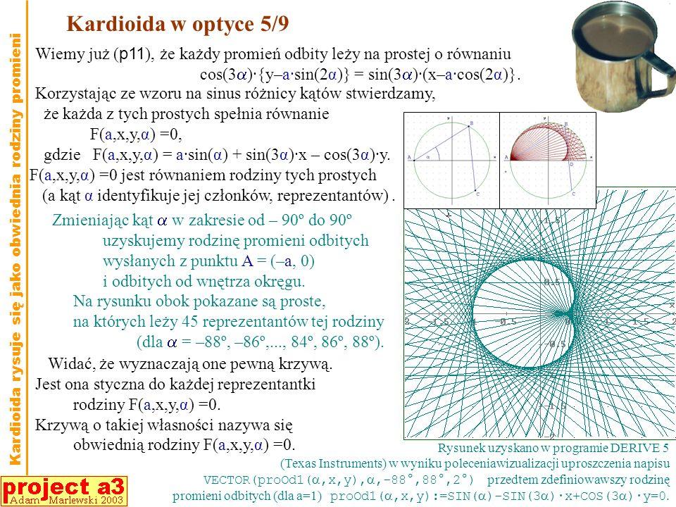 Kardioida w optyce 5/9 Zmieniając kąt w zakresie od – 90º do 90º uzyskujemy rodzinę promieni odbitych wysłanych z punktu A = (–a, 0) i odbitych od wnętrza okręgu.