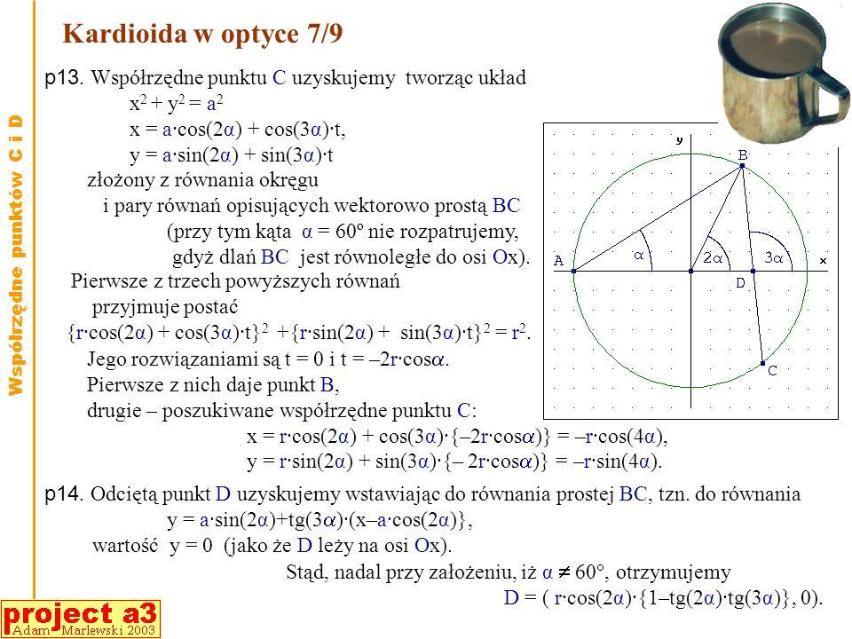Kardioida w optyce 6/9 Dowodzi się, że jeśli rodzina krzywych zadana wzorem (x,y, )=0 ma obwiednię, a funkcja jest dostatecznie gładka, to jest ta obw