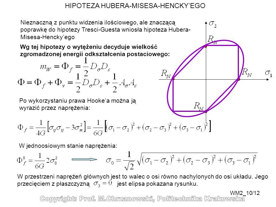 WM2_10/12 HIPOTEZA HUBERA-MISESA-HENCKYEGO W jednoosiowym stanie naprężenia: Nieznaczną z punktu widzenia ilościowego, ale znaczącą poprawkę do hipote