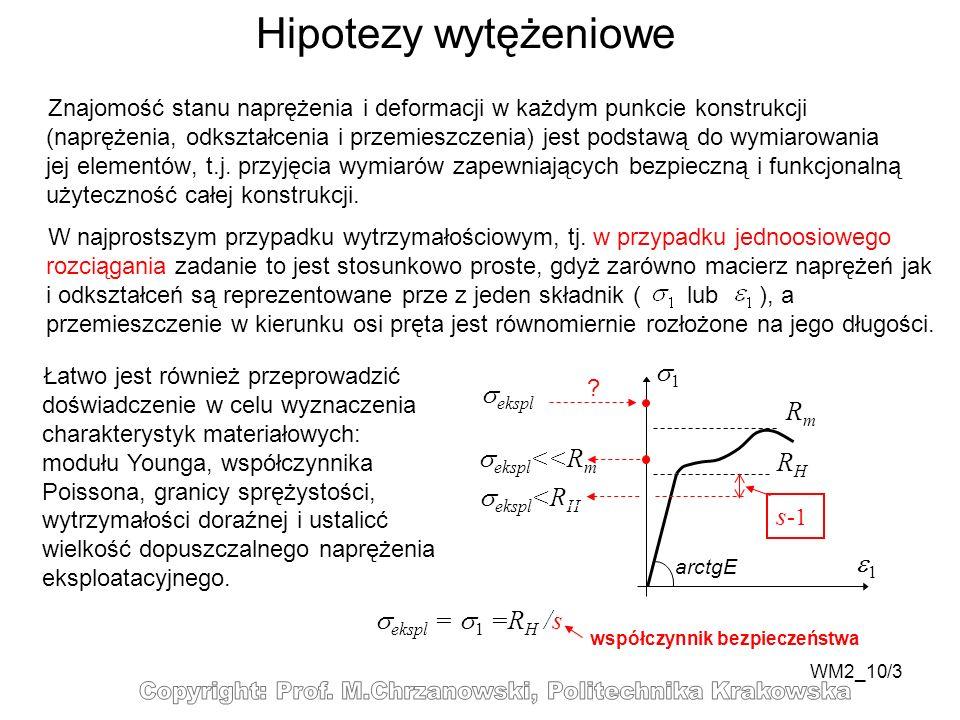 WM2_10/3 Hipotezy wytężeniowe Znajomość stanu naprężenia i deformacji w każdym punkcie konstrukcji (naprężenia, odkształcenia i przemieszczenia) jest