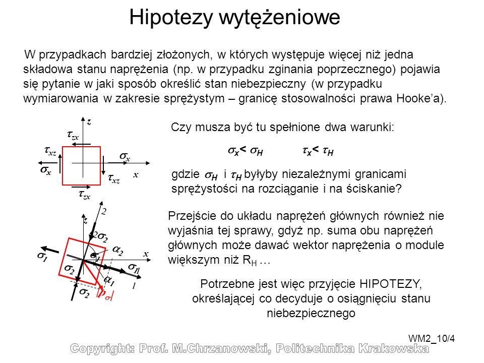 WM2_10/4 Hipotezy wytężeniowe W przypadkach bardziej złożonych, w których występuje więcej niż jedna składowa stanu naprężenia (np. w przypadku zginan