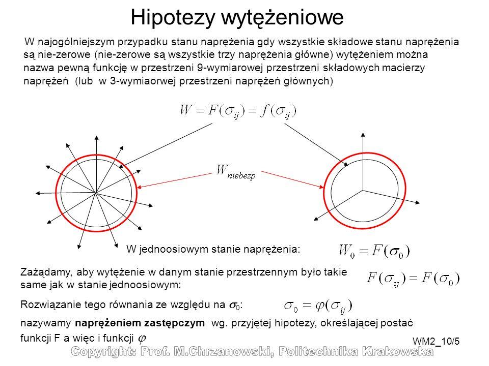 WM2_10/5 Hipotezy wytężeniowe W najogólniejszym przypadku stanu naprężenia gdy wszystkie składowe stanu naprężenia są nie-zerowe (nie-zerowe są wszyst