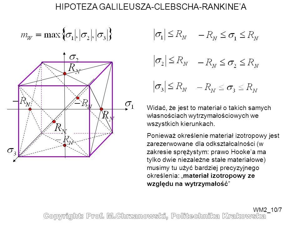 WM2_10/7 HIPOTEZA GALILEUSZA-CLEBSCHA-RANKINEA Widać, że jest to materiał o takich samych własnościach wytrzymałościowych we wszystkich kierunkach. Po