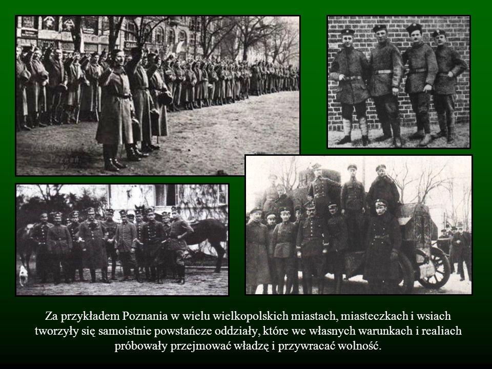 Za przykładem Poznania w wielu wielkopolskich miastach, miasteczkach i wsiach tworzyły się samoistnie powstańcze oddziały, które we własnych warunkach