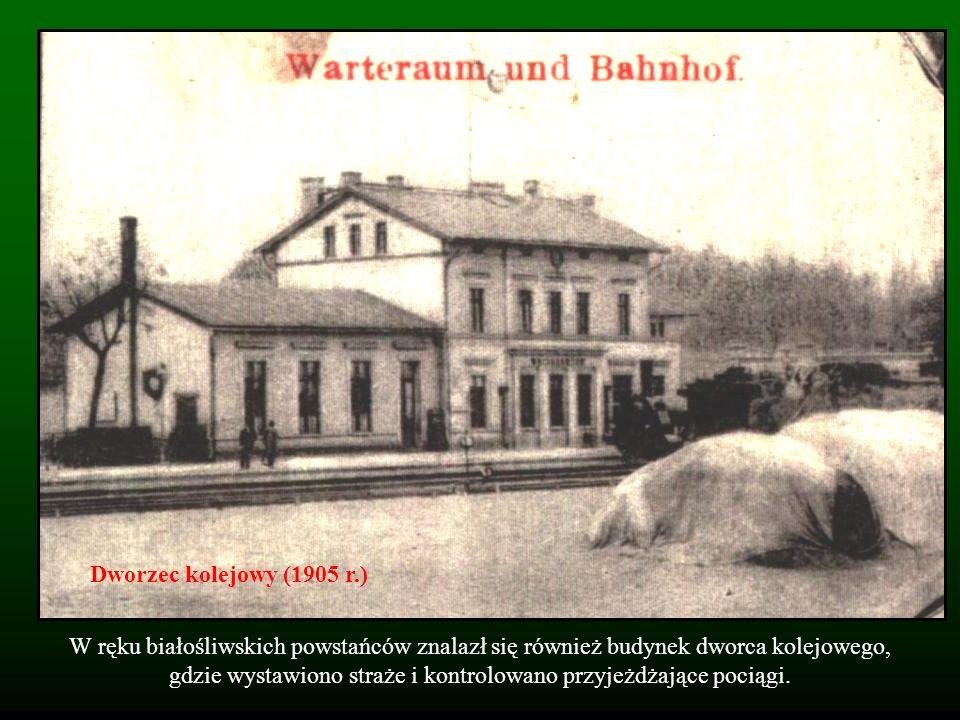 W ręku białośliwskich powstańców znalazł się również budynek dworca kolejowego, gdzie wystawiono straże i kontrolowano przyjeżdżające pociągi. Dworzec
