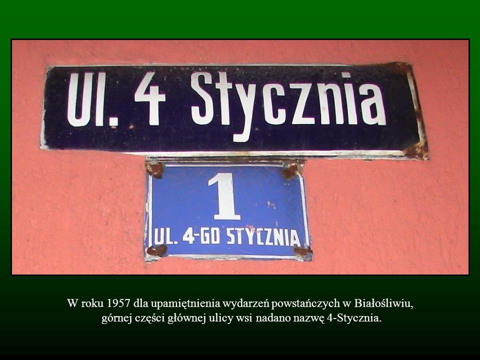 W roku 1957 dla upamiętnienia wydarzeń powstańczych w Białośliwiu, górnej części głównej ulicy wsi nadano nazwę 4-Stycznia.