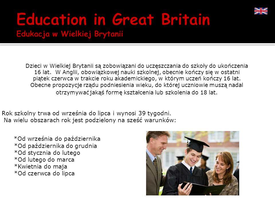 Dzieci w Wielkiej Brytanii są zobowiązani do uczęszczania do szkoły do ukończenia 16 lat. W Anglii, obowiązkowej nauki szkolnej, obecnie kończy się w