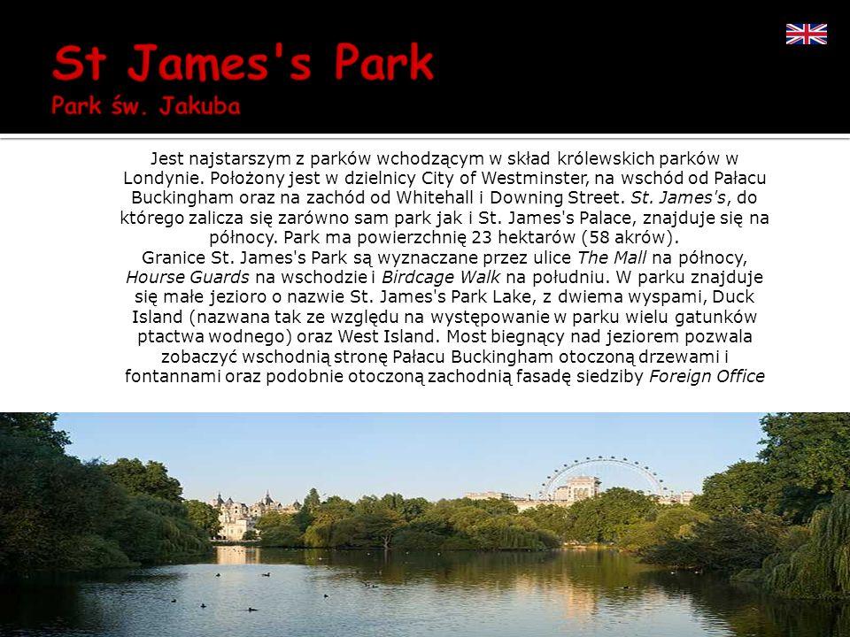 Jest najstarszym z parków wchodzącym w skład królewskich parków w Londynie. Położony jest w dzielnicy City of Westminster, na wschód od Pałacu Bucking