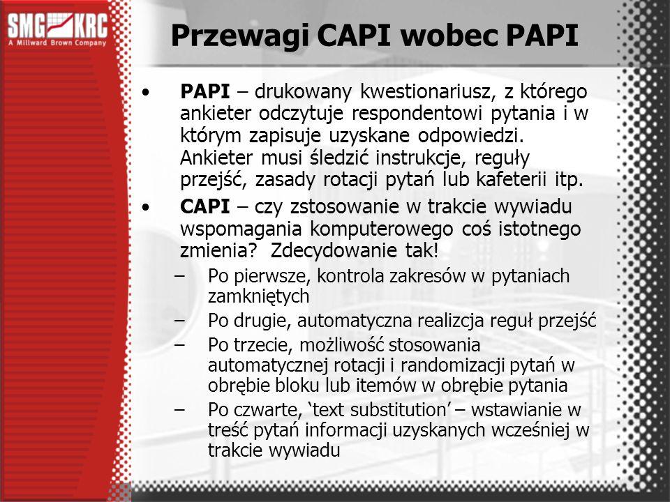 Po trzecie, IT Do zarządzania realizacją badań terenowych ze szczególnym uwzględnieniem specyfiki CAPI stworzyliśmy wyspecjalizowany system IT Podstawowe założenia systemu –sieć CAPI dysponuje skończonymi zasobami (sprzęt i wyszkoleni ankieterzy), –ze względu na koszt komputerów CAPI, oprogramowania, inwestycji poniesionych na szkolenia, itp., dążymy do optymalnego wykorzystania zasobów CAPI –znaczna część badań CAPI to projekty ad hoc realizowane na losowych próbach imiennych –od początku zakładaliśmy, że w tym samym czasie sieć CAPI może realizować kilka równoległych projektów.