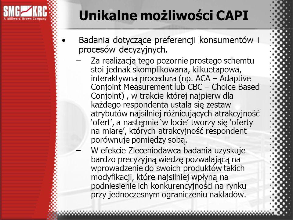 Realizacja projektów w CAPI –zamiast przygotowania kwestionariusza do druku przygotowuje się komputerowy skrypt ankiety CAPI.