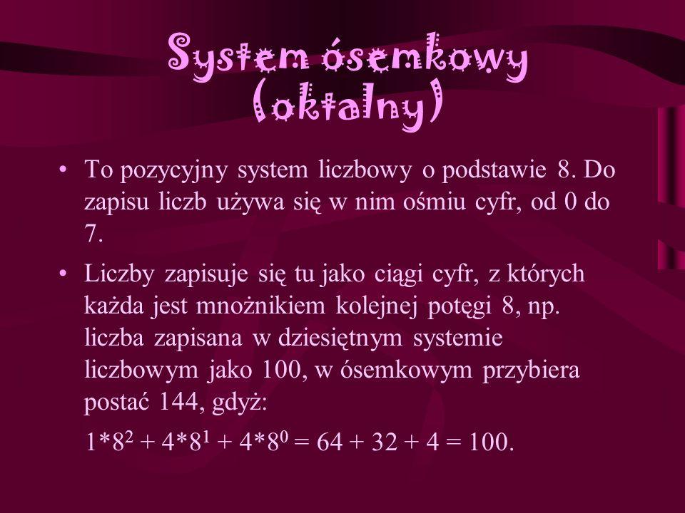 System dwójkowy (binarny) System liczbowy, w którym podstawą jest liczba 2. Do zapisu liczb potrzebne są tylko dwie cyfry: 0 i 1. Liczby zapisuje się