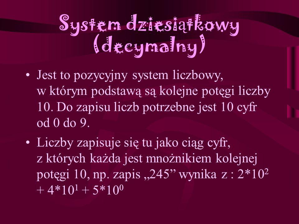 System ósemkowy (oktalny) To pozycyjny system liczbowy o podstawie 8. Do zapisu liczb używa się w nim ośmiu cyfr, od 0 do 7. Liczby zapisuje się tu ja