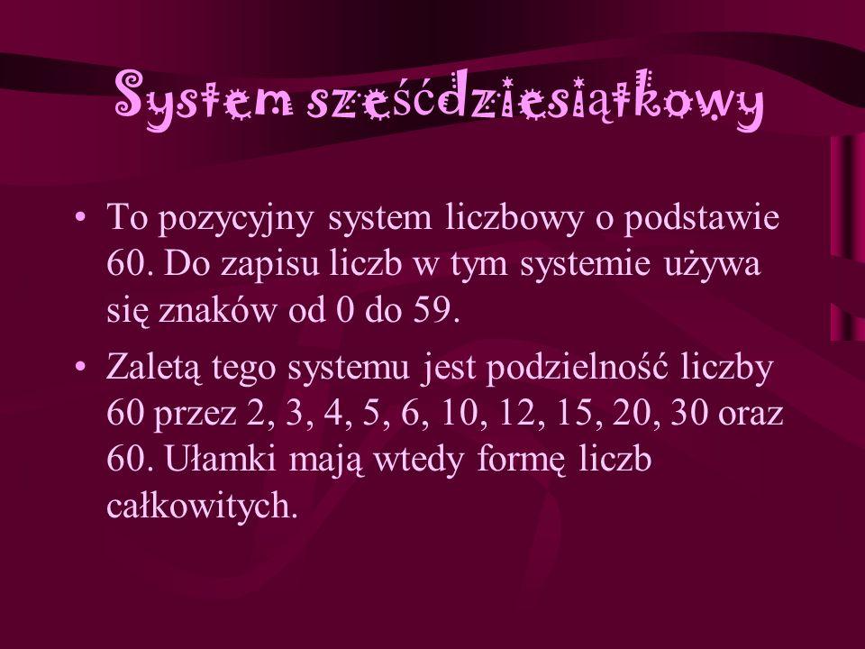 System szesnastkowy (heksadecymalny) System liczbowy, w kt ó rym podstawą jest liczba 16. Do zapisu liczb w tym systemie potrzebne jest 16 cyfr, poza