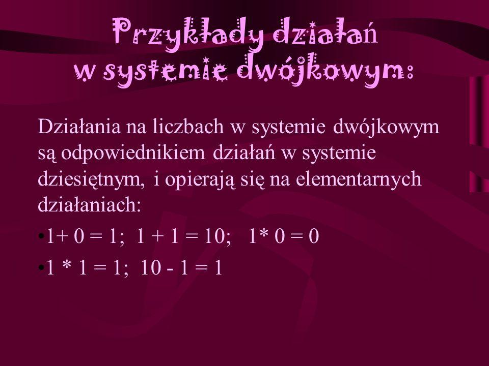 Konwersja liczb z jednego systemu na inny Zadanie1: Liczbę 458 przedstaw jako liczbę w systemie szóstkowym (o podstawie sześć). Liczbę 458 dzielimy pr