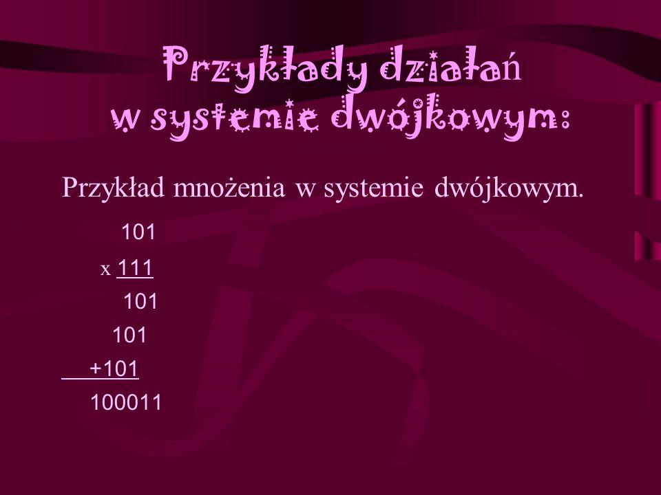 Przykłady działa ń w systemie dwójkowym: Przykład dodawania w systemie dwójkowym. 111111 1111111 + 10011 10010010