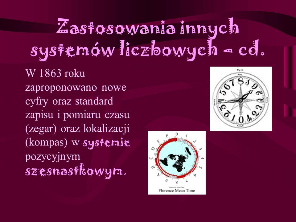 Zastosowania innych systemów liczbowych - cd Do dziś w Polsce używa się takich wywodzących się z systemu dwunastkowego pojęć jak tuzin (12 sztuk), gro